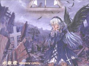 Rating: Safe Score: 2 Tags: doll goth-loli lolita_fashion rain rozen_maiden suigintou water User: Oyashiro-sama