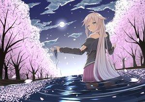 Rating: Safe Score: 120 Tags: blonde_hair blue_eyes cherry_blossoms clouds flowers ia long_hair moon petals sky sunset tsuhiki_koyomi vocaloid water wet User: humanpinka