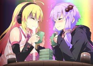 Rating: Safe Score: 70 Tags: 2girls breasts cleavage food headphones petenshi_(dr._vermilion) tsurumaki_maki vocaloid voiceroid yuzuki_yukari User: luckyluna