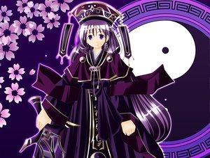 Rating: Safe Score: 4 Tags: flowers hat original purple_eyes purple_hair sword tagme weapon User: Oyashiro-sama