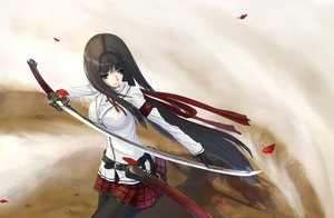 Rating: Safe Score: 220 Tags: black_eyes black_hair gloves katana kikivi long_hair original pantyhose petals sword weapon User: FormX