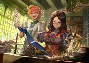 Rating: Safe Score: 21 Tags: blue_eyes book brown_hair drink fate/grand_order fate_(series) feathers glasses lack leonardo_da_vinci_(fate) long_hair male orange_hair paper ponytail romani_archaman short_hair User: BattlequeenYume
