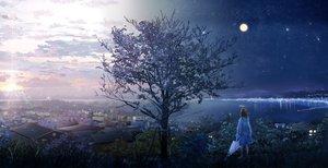 Rating: Safe Score: 94 Tags: ao_(aohari) building city clouds landscape moon night original scenic short_hair sky stars sunset tree umbrella User: FormX