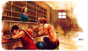 Rating: Safe Score: 35 Tags: food makino_(one_piece) monkey_d_luffy one_piece portgas_d_ace sleeping tsuyomaru User: FormX
