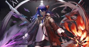 Rating: Safe Score: 48 Tags: aqua_eyes arknights blue_hair fire halo hoodie horns long_hair mostima_(arknights) shorts takechii_(user_fpya5735) weapon wings User: Fepple
