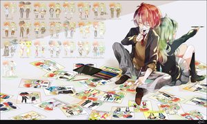 Rating: Safe Score: 59 Tags: chibi green_hair maple_(cyakapon) original paper red_hair seifuku User: STORM