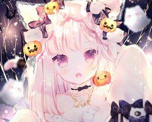 Rating: Safe Score: 103 Tags: animal_ears blush bow catgirl close cropped fang halloween kotamun long_hair necklace original pink_hair tail User: BattlequeenYume