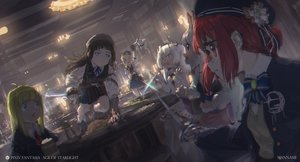 Rating: Safe Score: 33 Tags: blue_eyes bow brown_hair glasses gloves gray_hair group hat long_hair original pixiv_fantasia pointed_ears red_hair skirt sword tagme_(artist) watermark weapon white_hair User: BattlequeenYume