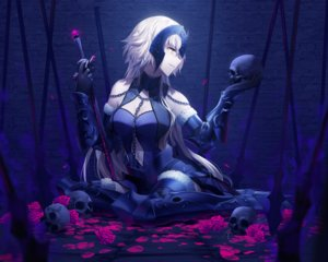 Rating: Safe Score: 66 Tags: armor blonde_hair breasts cleavage cropped fate/grand_order fate_(series) flowers jeanne_d'arc_alter jeanne_d'arc_(fate) long_hair petals rimuu rose skull sword weapon yellow_eyes User: mattiasc02