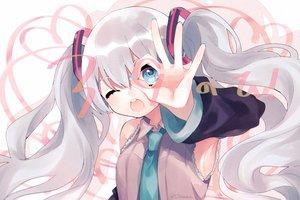 Rating: Safe Score: 18 Tags: gray_hair hatsune_miku tie tsubaki_tsubaru twintails vocaloid wink User: FormX
