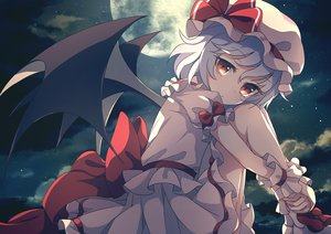 Rating: Safe Score: 63 Tags: bow brown_eyes clouds dise dress gray_hair hat moon night remilia_scarlet short_hair sky stars touhou vampire wings wristwear User: RyuZU