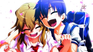 Rating: Safe Score: 40 Tags: 2girls bakemonogatari blue_hair brown_hair hanamonogatari kanbaru_suruga monogatari_(series) numachi_rouka petals pija_(pianiishimo) User: FormX