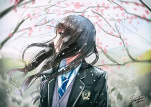 Rating: Safe Score: 78 Tags: brown_hair cherry_blossoms close green_eyes kazuharu_kina long_hair original seifuku signed tie User: RyuZU