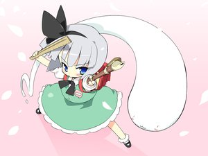 Rating: Safe Score: 53 Tags: aliasing blue_eyes blush dress gray_hair instrument konpaku_youmu myon petenshi_(dr._vermilion) ribbons short_hair touhou User: PAIIS