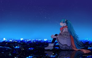 Rating: Safe Score: 108 Tags: aqua_eyes aqua_hair blush building city green_eyes hatsune_miku headphones long_hair mikumix night scarf scenic shimetta_oshime sky stars twintails vocaloid watermark User: HawthorneKitty
