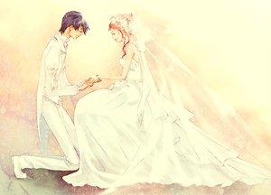 Rating: Safe Score: 30 Tags: angel_beats! dress hanagosui hinata_hideki long_hair pink_hair purple_hair short_hair wedding wedding_attire yui_(angel_beats!) User: Tensa