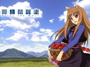 Rating: Safe Score: 37 Tags: animal_ears apple clouds dress food fruit horo landscape long_hair ookami_to_koushinryou orange_hair red_eyes scenic sky wolfgirl User: Pilop