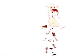 Rating: Questionable Score: 17 Tags: blood panties pointed_ears red_eyes thighhighs underwear white white_hair User: Oyashiro-sama