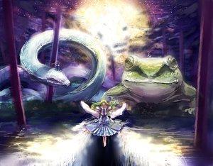 Rating: Safe Score: 64 Tags: animal benitama frog green_hair hat japanese_clothes kochiya_sanae long_hair miko moon moriya_suwako rope snake stars touhou water yasaka_kanako User: PAIIS
