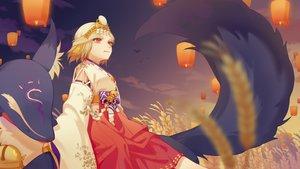 Rating: Safe Score: 14 Tags: animal bell blonde_hair clouds fox headdress japanese_clothes kimono limao_jun miketsu_(onmyouji) mirror onmyouji red_eyes short_hair sky sunset User: otaku_emmy
