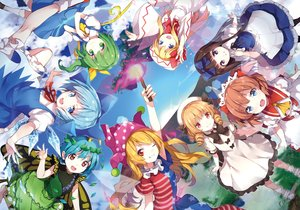 Rating: Safe Score: 87 Tags: aqua_eyes aqua_hair blonde_hair bow brown_eyes brown_hair cirno clouds clownpiece daiyousei dress eternity_larva fairy fang fire green_eyes green_hair group hat kneehighs lily_white lolita_fashion luna_child petals ponytail purple_eyes red_eyes risui_(suzu_rks) short_hair signed skirt sky socks star_sapphire sunny_milk touhou wings wink User: HanaNeko