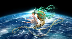 Rating: Safe Score: 65 Tags: aqua_hair barefoot chain dress earth gd._fengzi green_eyes hatsune_miku long_hair planet ribbons twintails vocaloid User: FormX