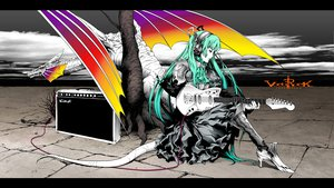 Rating: Safe Score: 103 Tags: dragon guitar hatsune_miku instrument nagimiso twintails vocaloid User: HawthorneKitty