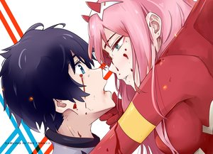 Rating: Safe Score: 22 Tags: aqua_eyes black_hair blood bodysuit close darling_in_the_frankxx hiro_(darling_in_the_frankxx) horns long_hair male pink_hair short_hair tagme_(artist) zero_two User: RyuZU
