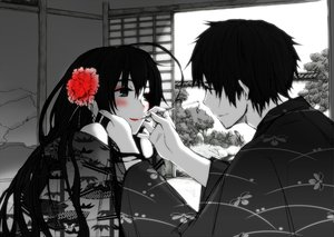 Rating: Safe Score: 125 Tags: anthropomorphism axis_powers_hetalia black_eyes black_hair blush flowers japan_(hetalia) long_hair male polychromatic short_hair taiwan_(hetalia) User: Tensa