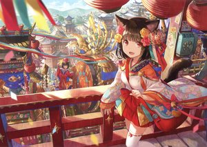 Rating: Safe Score: 133 Tags: animal animal_ears brown_hair building catgirl city fan fang festival flowers fuji_choko japanese_clothes original red_eyes scan short_hair tail thighhighs zettai_ryouiki User: RyuZU