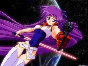 Rating: Questionable Score: 13 Tags: breasts dirty_pair_flash gloves gun long_hair purple_eyes purple_hair sword thighhighs weapon yuri_(dirty_pair_flash) User: 秀悟