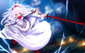 Rating: Safe Score: 28 Tags: dress gizensha momodora pantyhose red_eyes sword weapon white_hair User: luckyluna