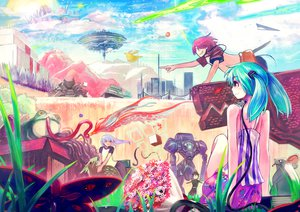 Rating: Safe Score: 44 Tags: animal aqua_hair butterfly flowers frog hatsune_miku jinichi long_hair mouse pink_hair purple_eyes red_hair robot short_hair twintails vocaloid User: FormX