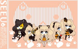 Rating: Safe Score: 14 Tags: animal_ears black_hair black_rock_shooter blonde_hair blue_eyes chibi cosplay koi_wa_sensou_(vocaloid) magnet_(vocaloid) romeo_and_cinderella_(vocaloid) seeu vocaloid User: Konazakura