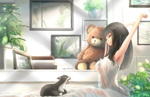 Rating: Safe Score: 335 Tags: animal black_hair blue_eyes cat flowers glasses kikivi leaves long_hair original rose see_through teddy_bear User: Flandre93