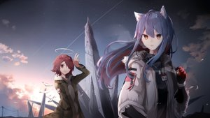 Rating: Safe Score: 47 Tags: 2girls aa_(sin2324) animal_ears arknights exusiai_(arknights) halo smoking texas_(arknights) wings User: BattlequeenYume