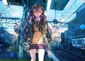 Rating: Safe Score: 71 Tags: building headphones long_hair original purple_hair rioka_(southern_blue_sky) school_uniform train User: BattlequeenYume