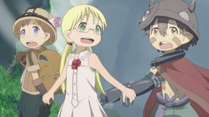 Rating: Safe Score: 16 Tags: aliasing blonde_hair brown_hair cape dress elbow_gloves glasses gloves green_eyes hat loli long_hair made_in_abyss male nut_(made_in_abyss) regu_(made_in_abyss) riko_(made_in_abyss) servachok short_hair twintails yellow_eyes User: RyuZU