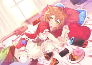 Rating: Safe Score: 75 Tags: apron bed blush braids brown_hair cat_smile computer corset food game_console green_eyes hoodie long_hair nijisanji phone pocky ponytail suzuhara_(szhr_1103) thighhighs warabeda_meijii User: BattlequeenYume