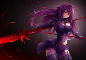 Rating: Safe Score: 38 Tags: bodysuit breasts fate/grand_order fate_(series) long_hair purple_hair red_eyes scathach_(fate/grand_order) skintight spear tagme_(artist) torn_clothes weapon User: RyuZU