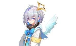 Rating: Safe Score: 33 Tags: amane_kanata angel blue_eyes blush bow gray_hair hololive pupps short_hair signed wings User: otaku_emmy
