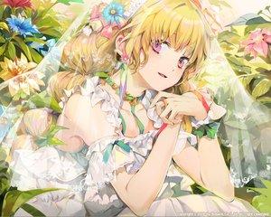 Rating: Safe Score: 67 Tags: blonde_hair bosack choker dress flowers headdress long_hair original pink_eyes ribbons waifu2x watermark User: sadodere-chan