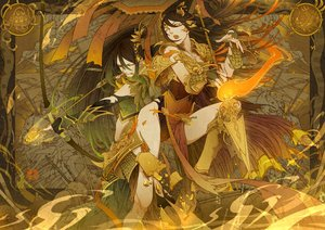 Rating: Safe Score: 55 Tags: akai_kamoshi armor bow_(weapon) breasts cleavage long_hair spear weapon User: Kiho