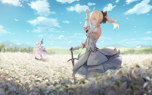 Rating: Safe Score: 78 Tags: artoria_pendragon_(all) blonde_hair blush clouds dress fate/grand_order fate_(series) feathers flowers gloves green_eyes male merlin_(fate/grand_order) pigonhae ponytail saber saber_lily sky staff sword thighhighs weapon white_hair User: BattlequeenYume
