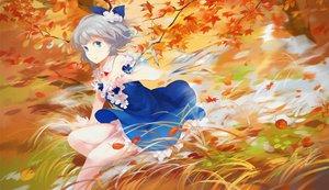 Rating: Safe Score: 118 Tags: aqua_eyes autumn cirno dress fairy gray_hair jq leaves short_hair touhou User: Flandre93