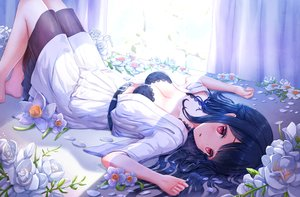 Rating: Questionable Score: 154 Tags: black_hair bra breasts cleavage flowers long_hair lunacle open_shirt original red_eyes shade skirt underwear User: BattlequeenYume