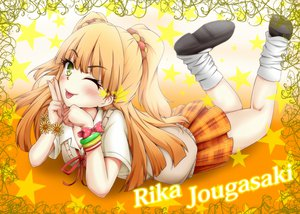 Rating: Safe Score: 46 Tags: blonde_hair idolmaster idolmaster_cinderella_girls jougasaki_rika seifuku tjk wink yellow_eyes User: opai