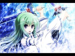 Rating: Safe Score: 23 Tags: akashio_(loli_ace) green_hair japanese_clothes kochiya_sanae long_hair miko purple_eyes sword touhou weapon User: konstargirl