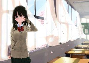 Rating: Safe Score: 70 Tags: black_hair blue_eyes bow long_hair original petals scan school_uniform skirt unasaka_ryou wink User: RyuZU
