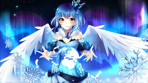 Rating: Safe Score: 96 Tags: blue_hair blush crown earth feathers original planet ribbons short_hair snow squchan wings yellow_eyes User: luckyluna